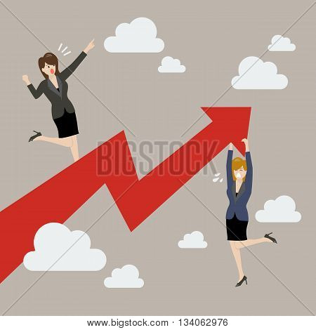Business woman standing on a growing graph with woman hold on graph. Business hindrance concept