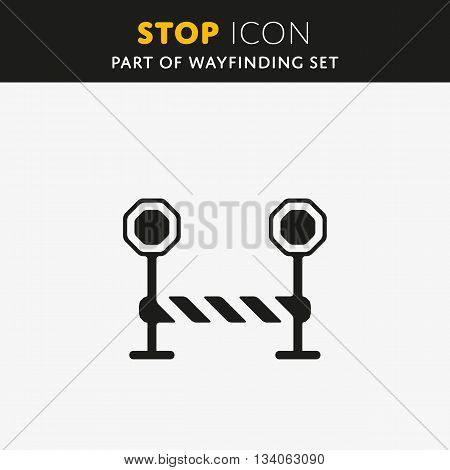 Vector Stop Icon. Barrier sign. Gate symbol