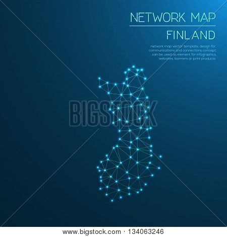 Finland Network Map. Abstract Polygonal Map Design. Internet Connections Vector Illustration.