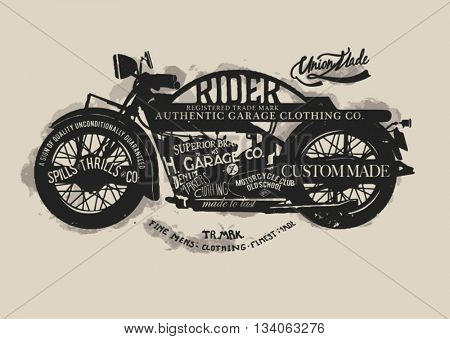 handmade font motorcycle race with  typography watercolor