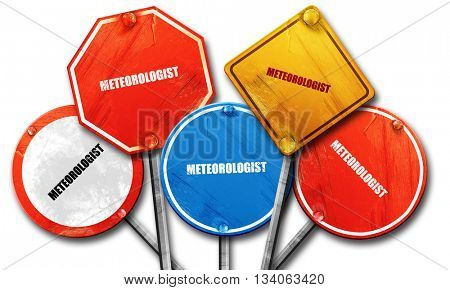 meteorologist, 3D rendering, rough street sign collection