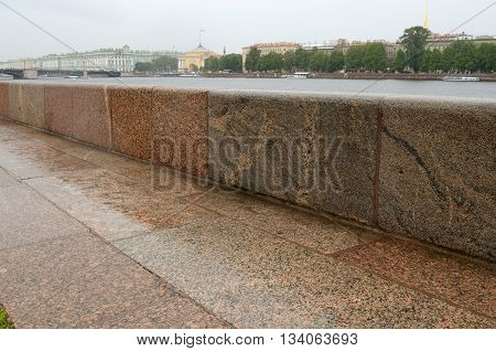 Russia.Saint-Petersburg.Through the city flows the river Neva.The embankments of the river were faced with granite.