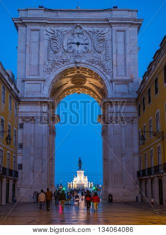Rua Augusta Arch and statue of King Jose I on Commerce Square in Lisbon, Portugal