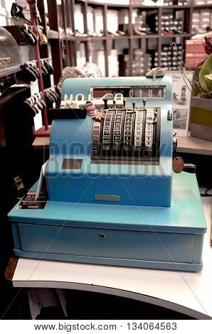 RETRO BLUE CASH REGISTER IN THE SHOP