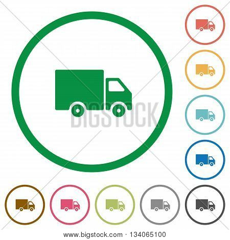 Set of delivery truck color round outlined flat icons on white background