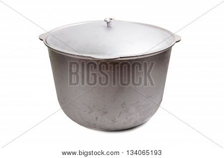 bog aluminum pot for cooking isolated on white