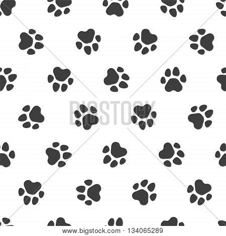 Seamless vector pattern - black traces of paws