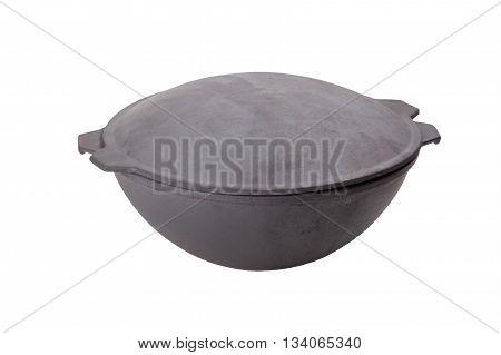 cast iron cauldron closeup isolated on white