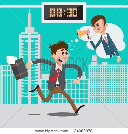 Businessman Late for Work. Angry Boss Screaming in Megaphone. Man Hurry to Work. Vector illustration