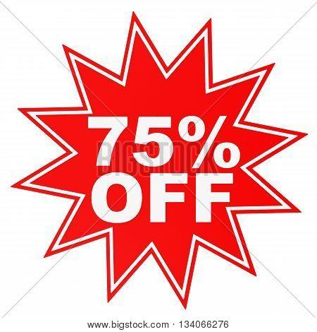 Discount 75 Percent Off. 3D Illustration.
