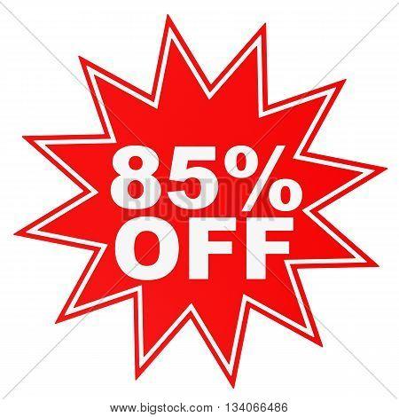 Discount 85 Percent Off. 3D Illustration.