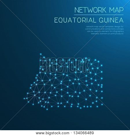 Equatorial Guinea Network Map. Abstract Polygonal Map Design. Internet Connections Vector Illustrati