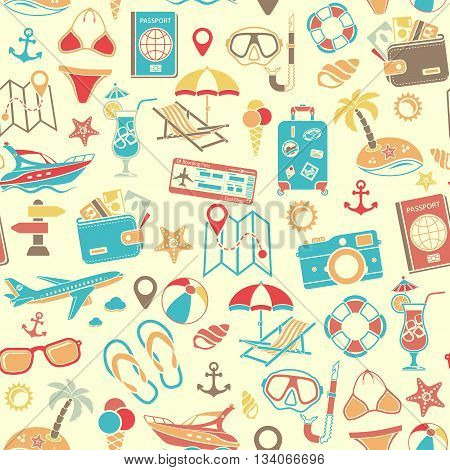 Vacation and Tourism Seamless Pattern with Flat Icon Set for Mobile Applications, Web Site, Advertising like Boat, Cocktail, Island, Aircraft and Suitcase.
