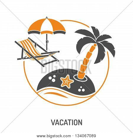 Vacation Time and Tourism Concept with Icons for Mobile Applications, Web Site, Advertising like Island, Umbrella and Deck Chair.