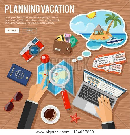 Planning Vacation Concept and Tourism Infographics with Flat Icons for Mobile Applications, Web Site, Advertising like Planning, Booking, Tickets, Money, Speech Bubble, Island, Map and Hands.