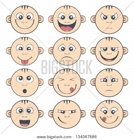 Colored set of baby smiley with two teeth. Cute cartoon litle kids emoticon. Collection of funny children face expression
