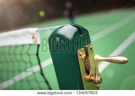 Tennis court, ball and close up on net concept for healthy lifestyle, sport and exercise
