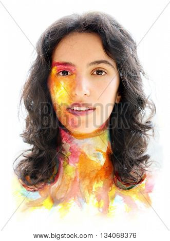 The photograph of attractive woman combined with watercolor drawing