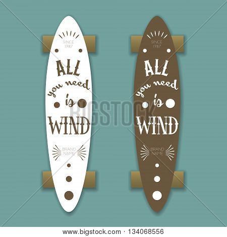 Longboard skateboard vector template with lettering and shadows