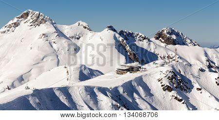 Aibga Ridge. Mountains near the ski resort of Rosa Khutor in Krasnaya Polyana. Sochi, Russia