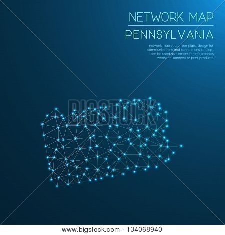 Pennsylvania Network Map. Abstract Polygonal Us State Map Design. Internet Connections Vector Illust
