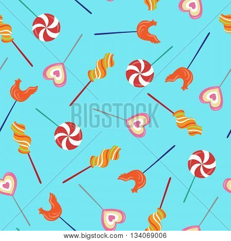 Colorful Lollipops Seamless Pattern. Happy Birthday Background. Vector illustration