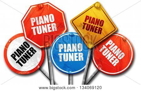 piano tuner, 3D rendering, rough street sign collection