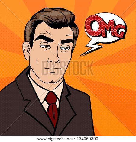 Exhausted Businessman. Sad Man with Expression OMG. Pop Art. Vector illustration