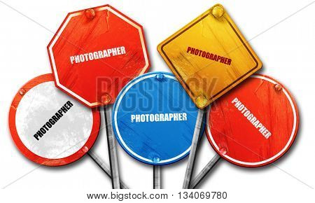 photographer, 3D rendering, rough street sign collection