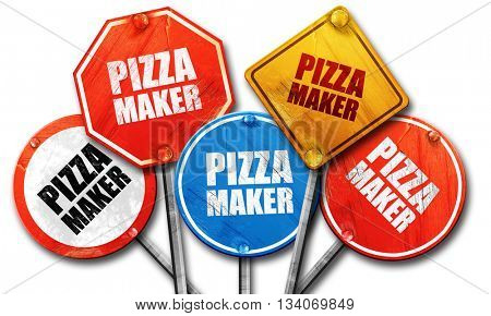 pizza maker, 3D rendering, rough street sign collection
