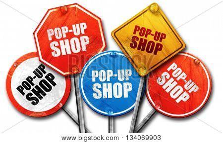 pop-up shop, 3D rendering, rough street sign collection