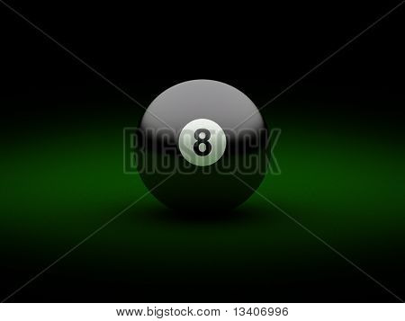 Black billiard ball number eight on table
