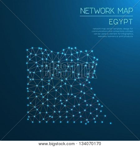 Egypt Network Map. Abstract Polygonal Map Design. Internet Connections Vector Illustration.