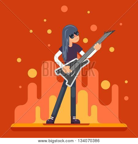 Electric Guitar Icon Guitarist Hard Rock Heavy Folk Music Background Flat Design Vector Illustration