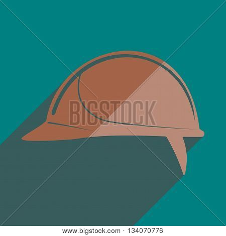 Flat icons with shadow of helmet building. Vector illustration