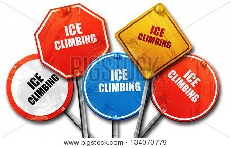 ice climbing sign background, 3D rendering, rough street sign co