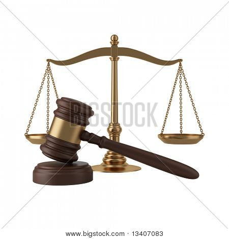 Gavel and scales isolated on white