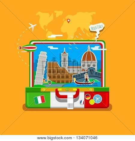 Concept of travel to Italy or studying Italian. Italian flag with landmarks in open suitcase.