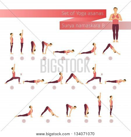 Vector yoga set in flat style. Surya namaskar B. Sun salutation yoga complex. Ashtanga vinyasa yoga. Man doing yoga. Yoga lifestyle
