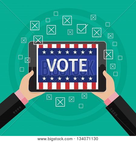 Concept of voting. Man hold tablet with vote on elections. Symbols of vote. Flat design, vector illustration.