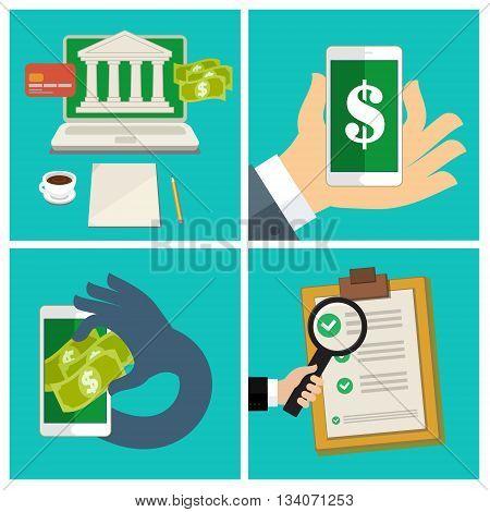 Flat design business set of internet banking concept. Mobile banking. Vector illustration
