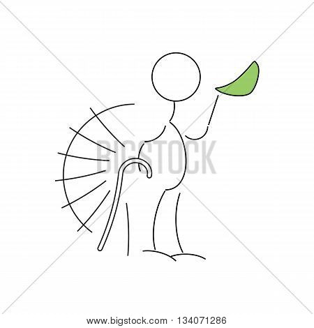 Cartoon style line drawing of old man with a walking stick vector illustration isolated on white background.