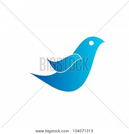 Beautiful blue simple bird icon vector illustration isolated on white background.
