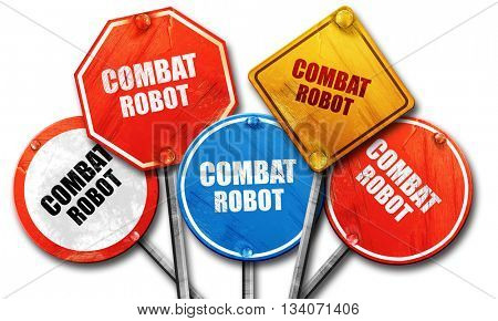 combat robot sign background, 3D rendering, rough street sign co