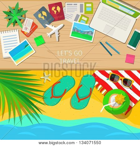Travel and vacation concept. Outfit of traveler on wooden background. Happy travel. Travel to summer. Vacation on the sea. Flat design, vector illustration.