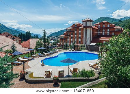 SOCHI, RUSSIA, JUNE 12, 2016: Peak Hotel first four star hotel in Krasnaya Polyana