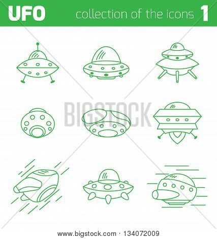Set of ufo alien ships icon part one