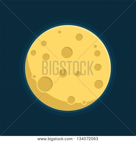 Moon in flat dasign style. Night space astronomy and nature moon icon. Gibbous vector on dark background. Cartoon planet moon icon.