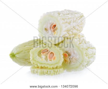 White bitter melon isolated on white background