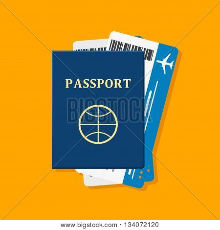 Passport with tickets on orange. Passport and tickets travel, tourism business vacation, trip pass tourist flight symbol. Holiday passport and tickets in flat style, vocation concept vector illustration
